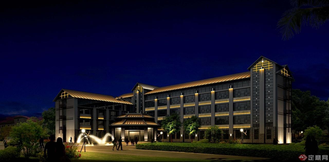 广西南丹图书馆建筑夜景