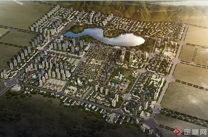 效果图 详细规划/某现代城镇建筑景观详细规划设计JPG效果图