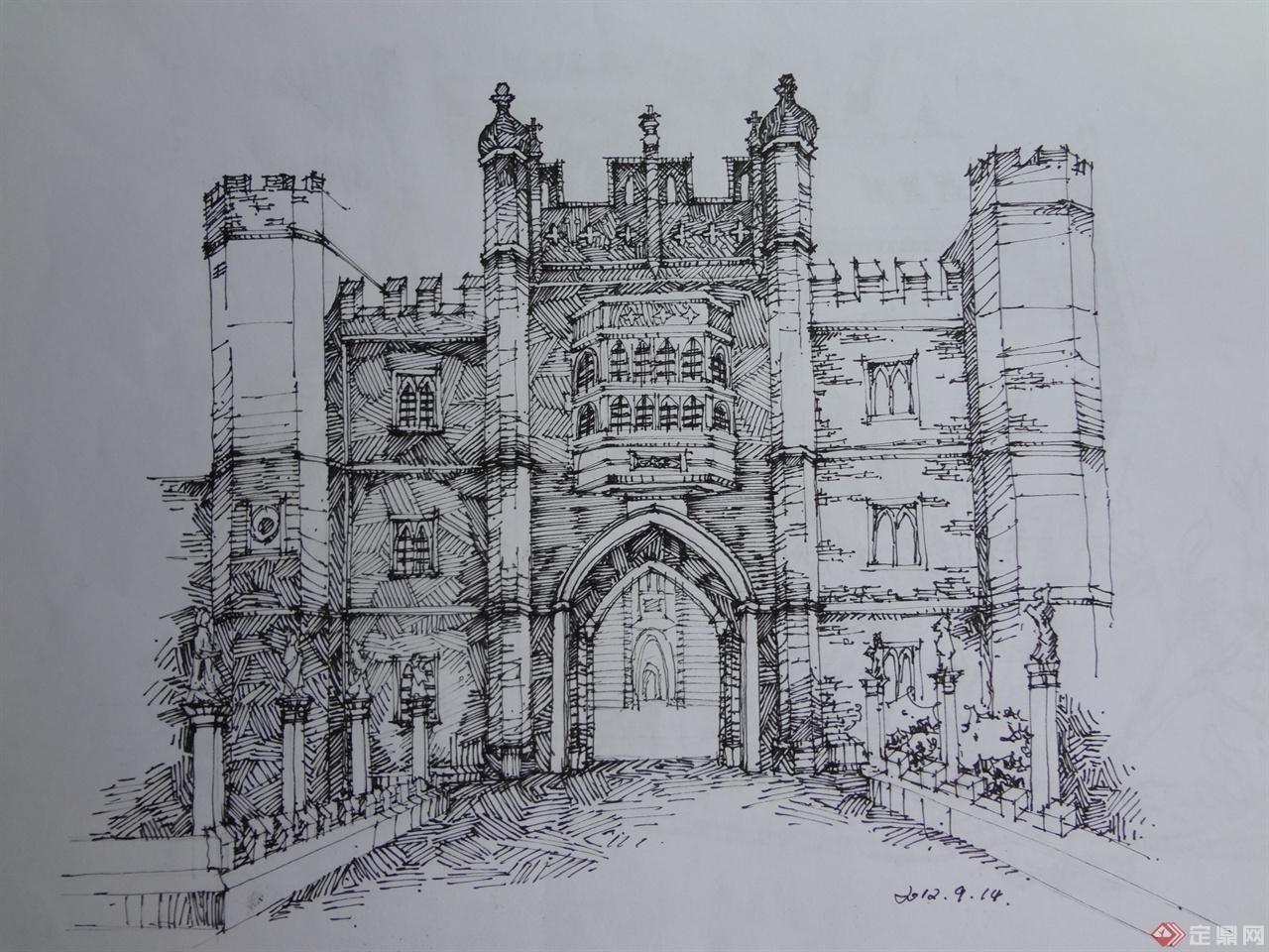 西方建筑手绘