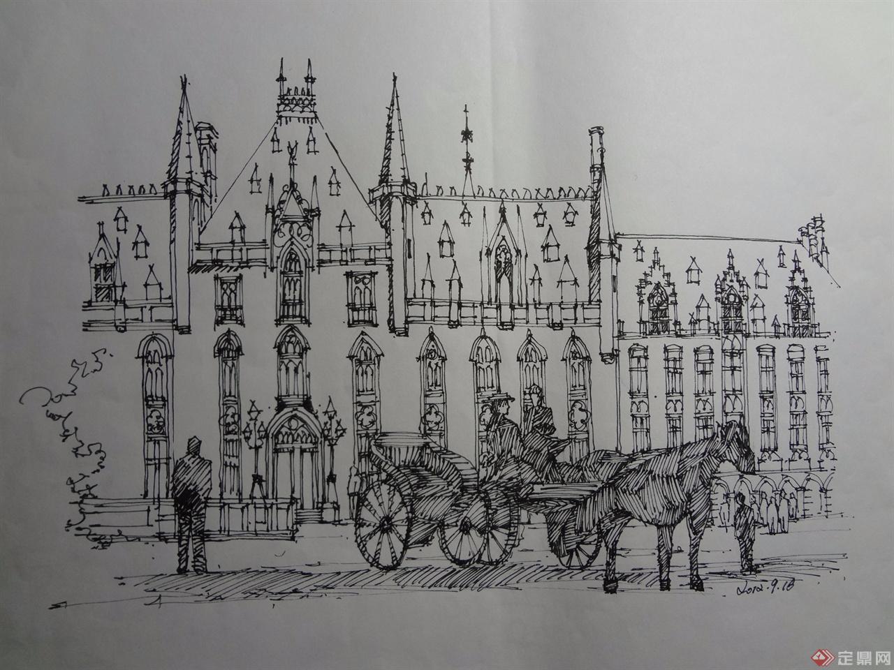 手绘,钢笔画,西方建筑