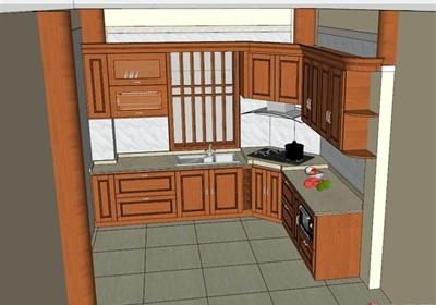 木制厨房橱柜设计SU模型
