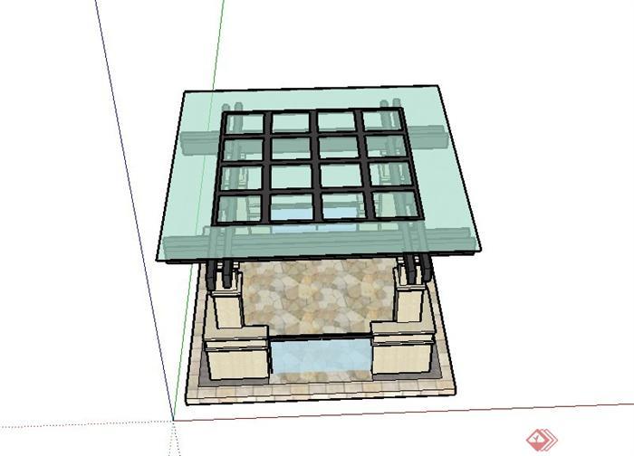 某现代欧式四角廊架设计su模型
