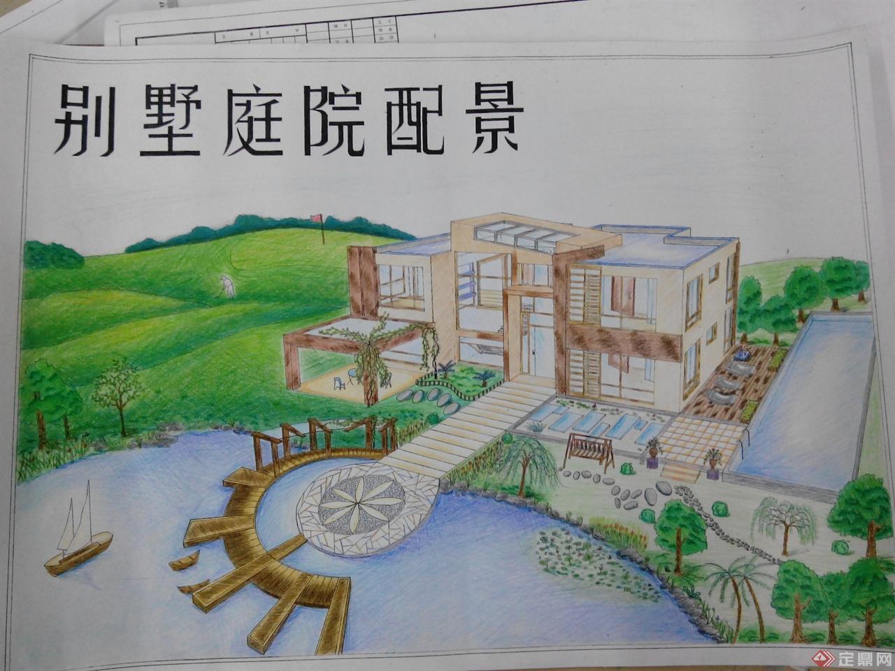 别墅庭院配景手绘图