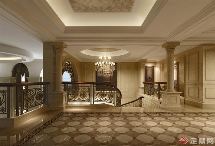 某欧式别墅豪华客厅室内设计3dmax模型
