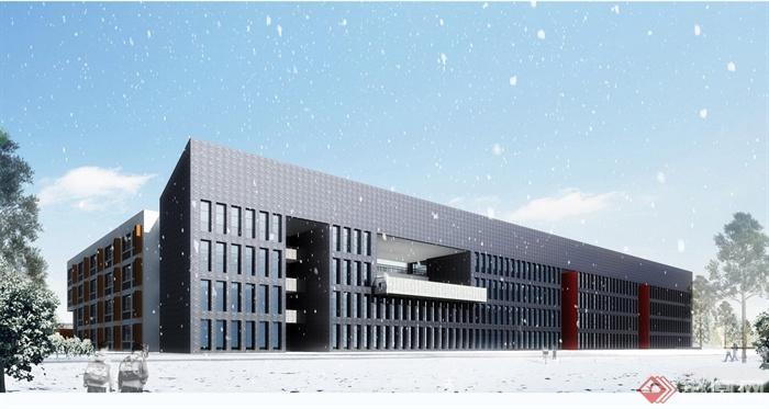 某方案教学楼建筑规划设计小学图(含效果图ca小学南油深圳市图片