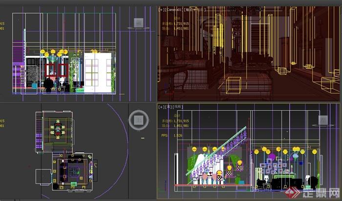 某欧式田园风格餐厅与客厅家具展设计3dmax模型