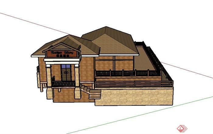 某现代木制两层酒庄建筑设计su模型