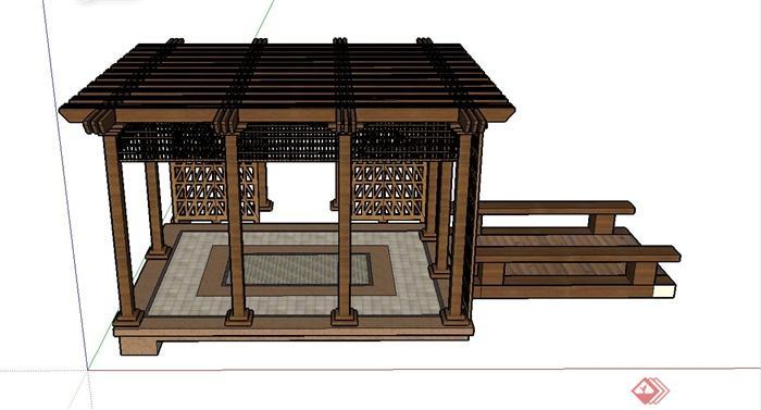 某方形木制廊亭设计su模型(2)