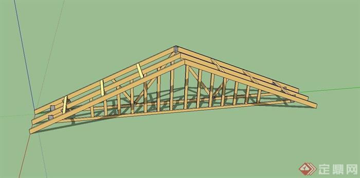 某建筑屋顶构建设计su模型