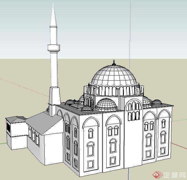 欧式风格教堂建筑设计su白模模型