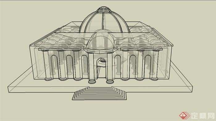 某欧式一层寺庙建筑设计su模型