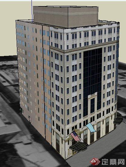 現代小高層辦公樓建筑設計su模型(2)
