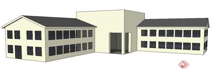现代风格二层办公楼建筑设计su模型(2)