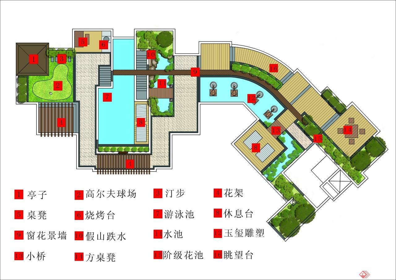 设计区域为大约500平米的屋顶花园,正面朝想长江,具有先天的景观优势,北面靠山,临城。依山傍水,景观条件优越,环境优美。 一条游步道贯穿整个屋顶花园,道路指向单一明确,很好地衔接到每一个出入口和每个空间,将运动玩耍区,观赏展示区,休息互动区3个区域相互关联,形成一个整体的景观体系。