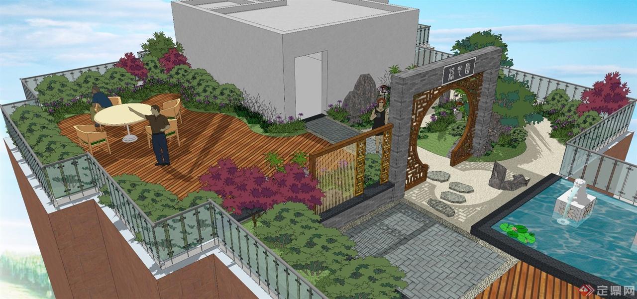 图书馆屋顶花园手绘图