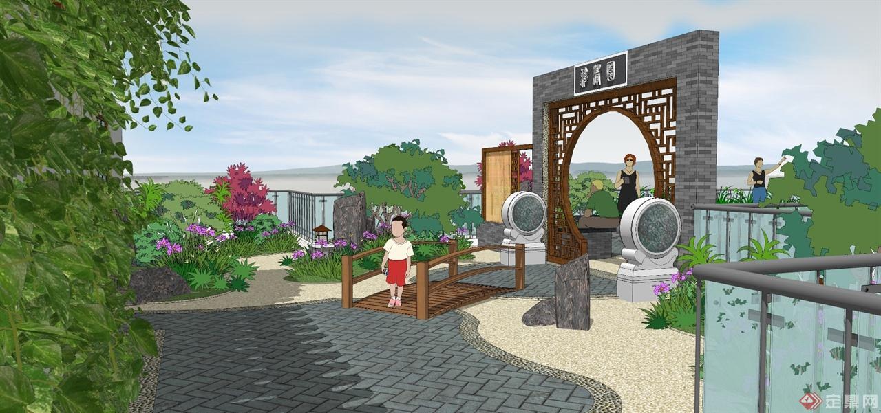 设计区域为大约500平米的屋顶花园