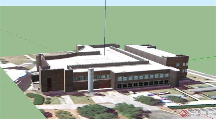 某欧式两层乡村政府办公室建筑设计su模型