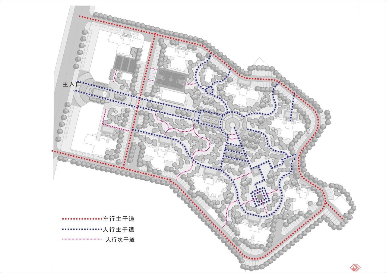 小区道路结构素描平面图
