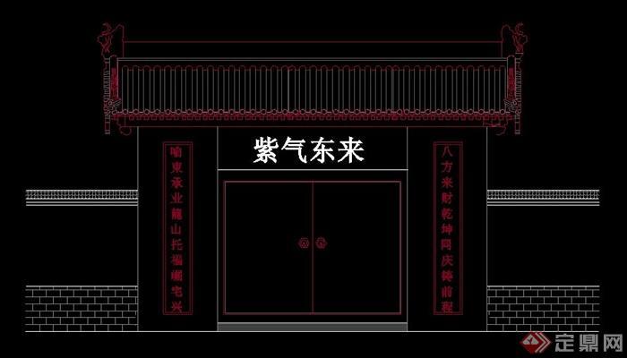 古典中式住宅大门设计cad立面图[原创]