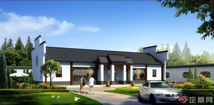 某中式徽派单层别墅建筑设计方案(含效果图)[原创]图片