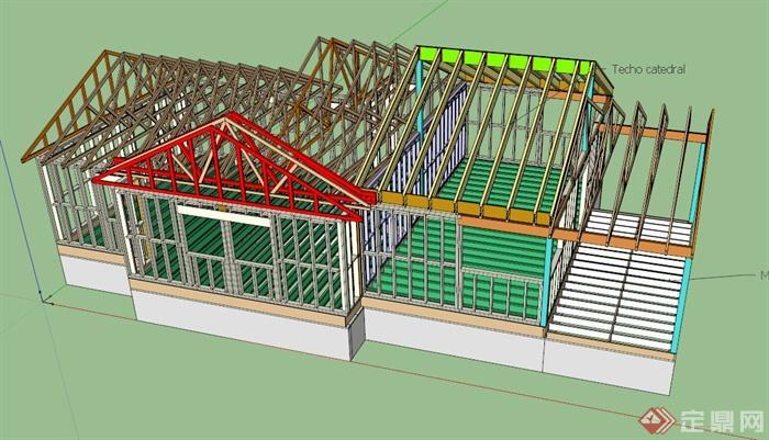 某栋建筑框架设计su模型