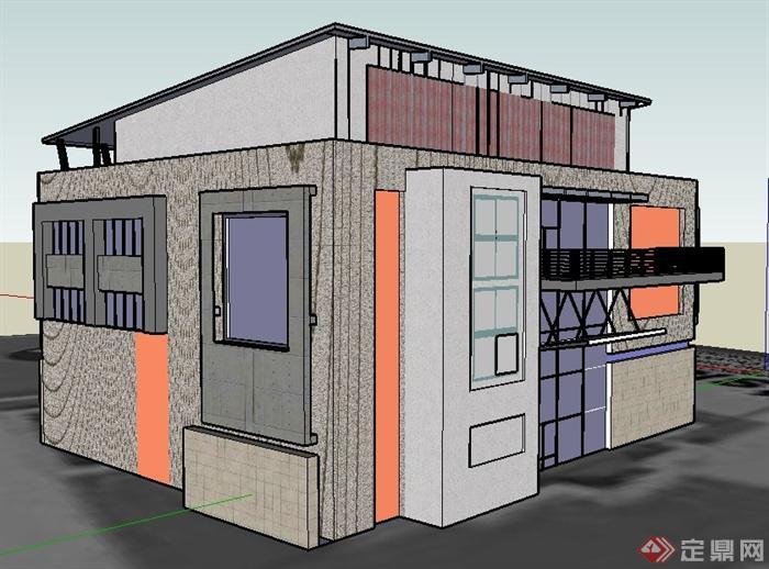 某现代模型四层办公楼建筑设计su材料室内设计风格创新图片