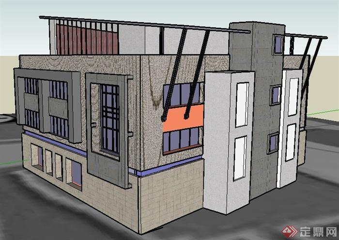 某现代风格四层办公楼建筑设计su原子chemdraw绘制模型杂图片