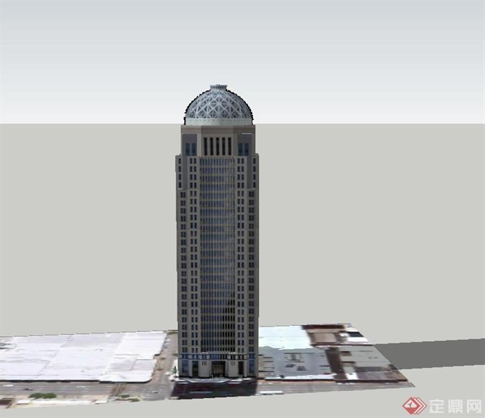 某现代超高层银行办公楼建筑设计su模型(1)