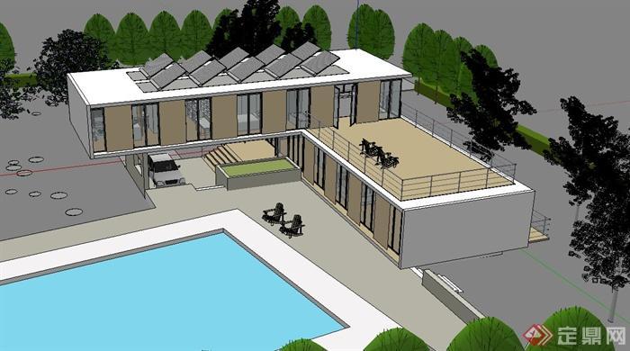 某现代两层别墅建筑规划设计su模型(1)