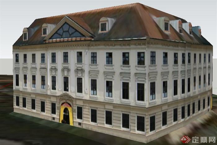 欧式风格老式办公楼建筑设计su模型(1)图片