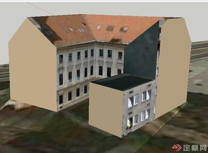 欧式风格老式办公楼建筑设计su模型(3)