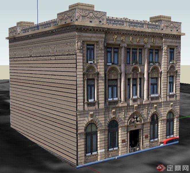 欧式风格银行办公楼建筑设计su模型