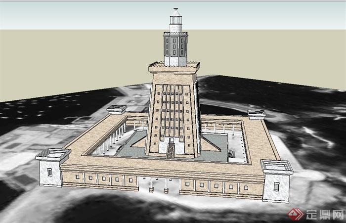 某欧式灯塔建筑设计su模型