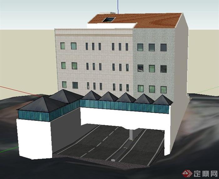 一栋现代模型四层办公楼建筑设计su风格圣托里尼的室内设计图片
