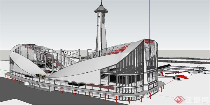 某现代风格飞机场建筑设计su模型(1)