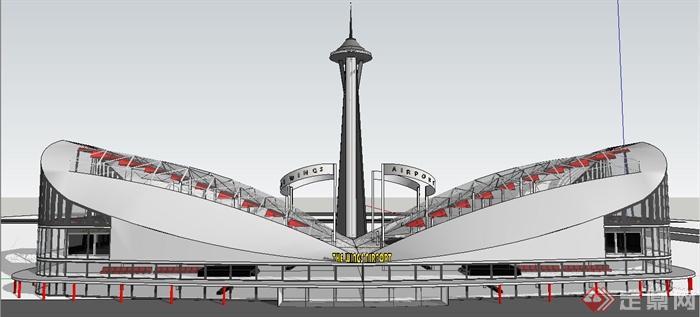 某现代风格飞机场建筑设计su模型(3)