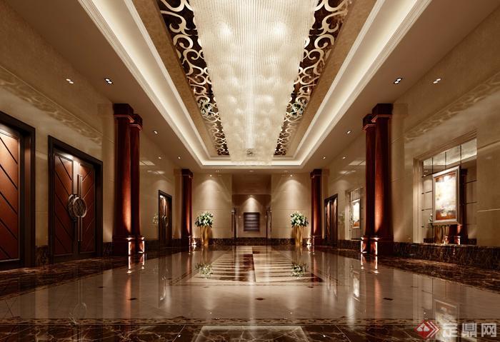 欧式风格商业空间过道室内设计3dmax模型