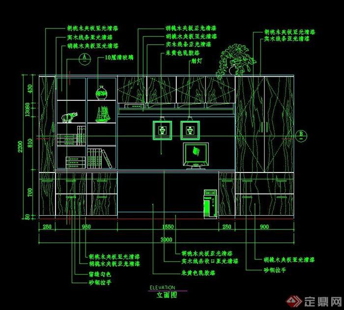 室内办公桌书柜组合设计CAD立面图