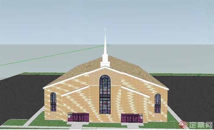 某欧式单层教会礼堂建筑设计su模型