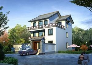 某三层中式乡村别墅建筑设计cad图附带jpg效果图别墅双成都楠图片