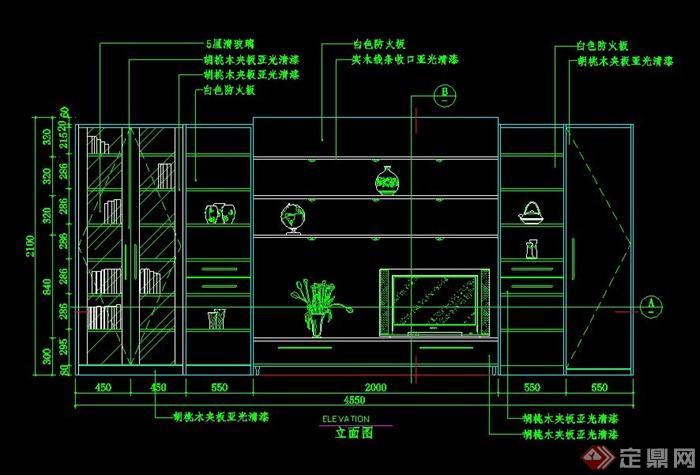 电视背景墙柜子组合设计cad立面图