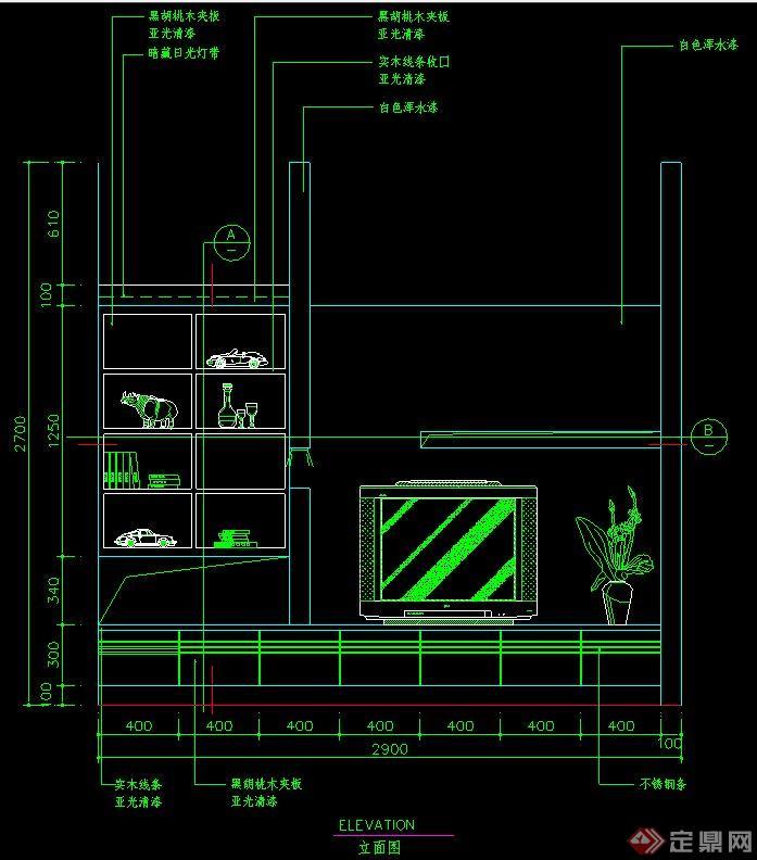 电视柜组合设计cad立面图