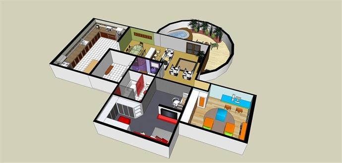 室内设计整体场景草图大师模型