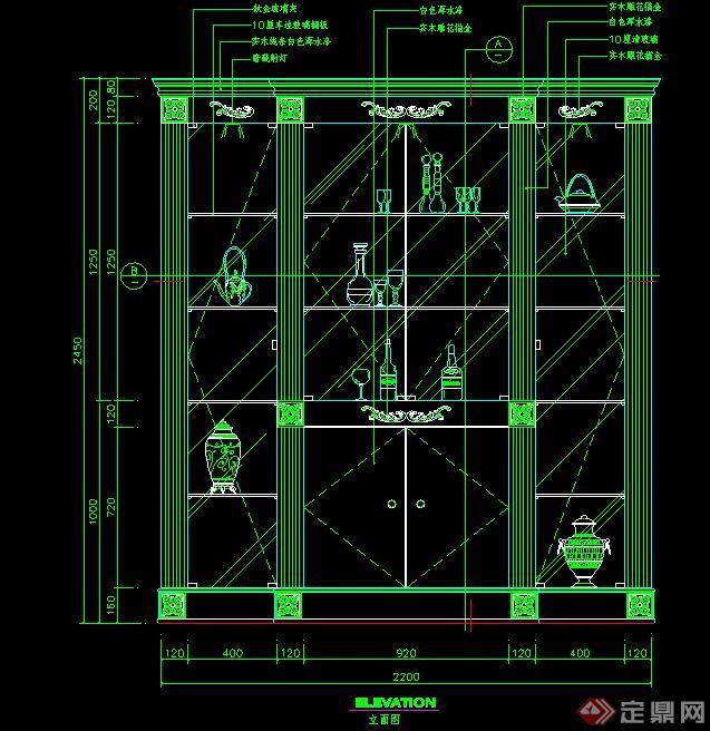 室内设计欧式储物柜cad立面图