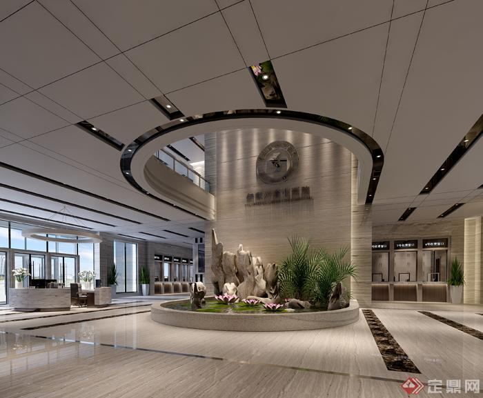 某医院现代风格大堂室内设计3dmax模型