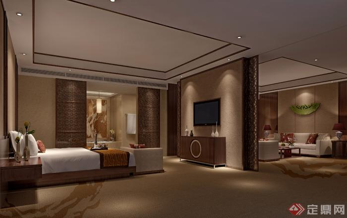 某中式风格酒店套房室内设计3dmax模型