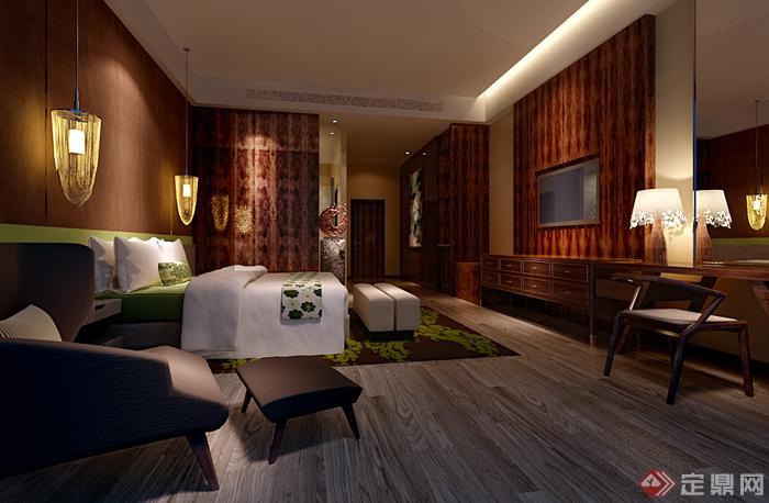 现代中式风格卧室装饰设计3dmax模型