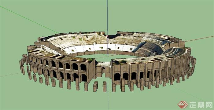 某欧式椭圆形搏斗场建筑设计su模型