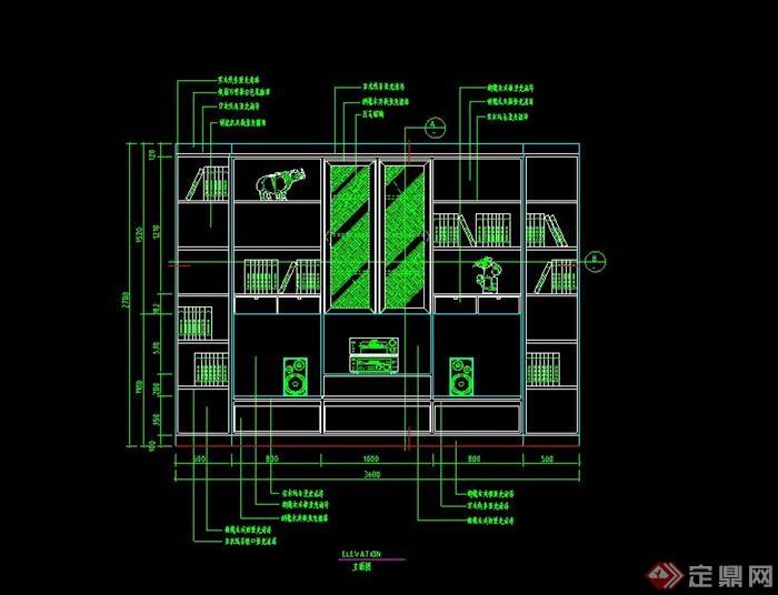 某室內背景墻立面設計cad施工圖