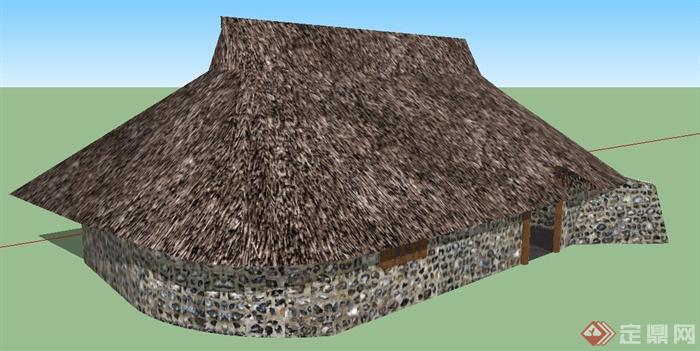 某茅草小屋建筑设计su模型